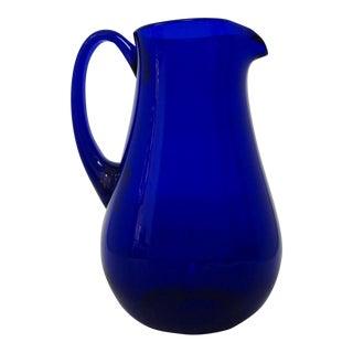Italian Style Cobalt Glass Pitcher