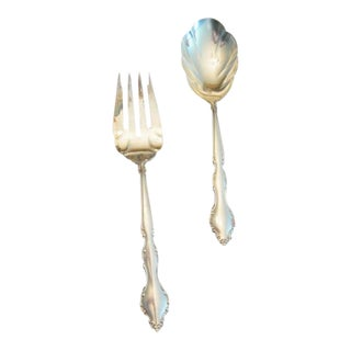 Silver-Plate Serving Spoon & Fork