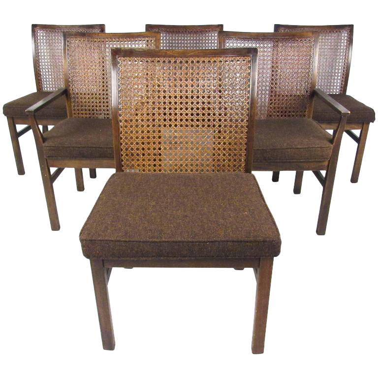 Lane Mid Century Cane Back Dining Chairs   Set Of 6