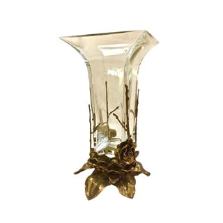 Crystal & Carved Brass Vase