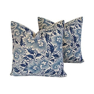 Custom Indigo Blue Floral Linen Pillows - Pair