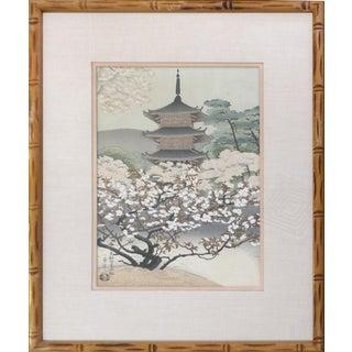 Vintage Japanese Pagoda Wood-Block Print