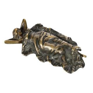 Art Nouveau Woman Under Blanket Bronze Figurine