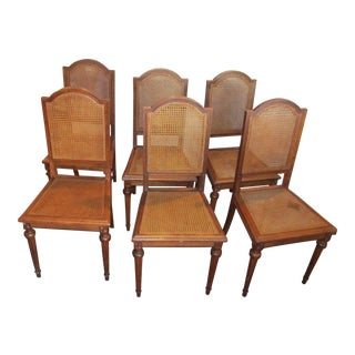 Wood & Cane Vintage Dining Chairs - Set of 6