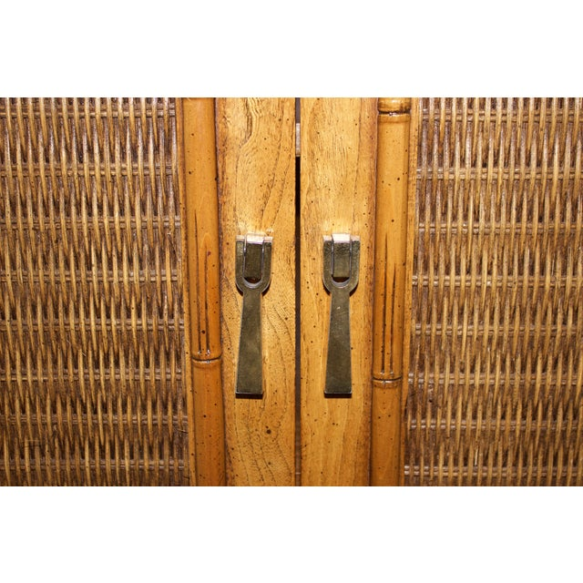 Image of Mid-Century Faux-Bamboo Armoire by Lane Furniture