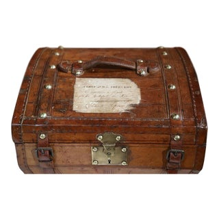 18th Century French Leather Travel Hatbox With Two Hats and Storybook of Owner