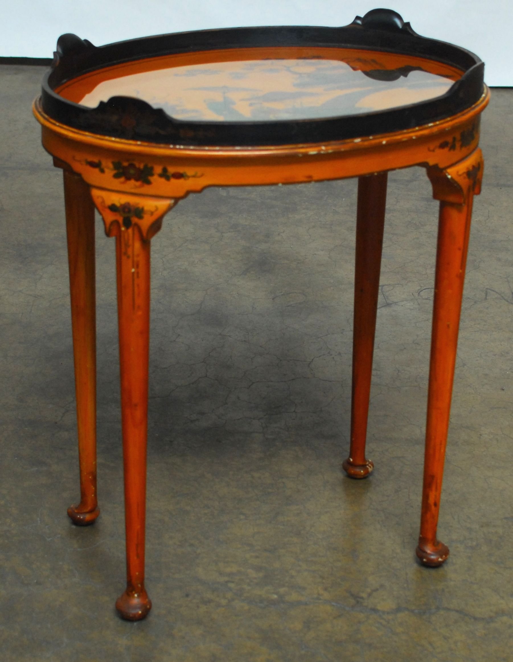 Queen Anne Style Chinoiserie Tea Table   Image 2 Of 7