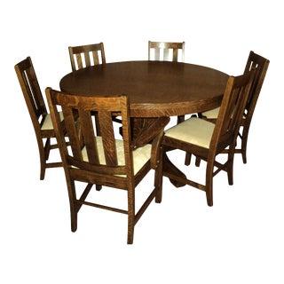 Antique Arts & Crafts Mission Oak Dining Set - Set of 7