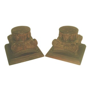 19th Century Hand Carved Walnut Plateau Capitals - Pair