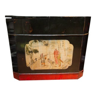 Chinese Lacquered Painted Wedding Trunk and Shoe Box