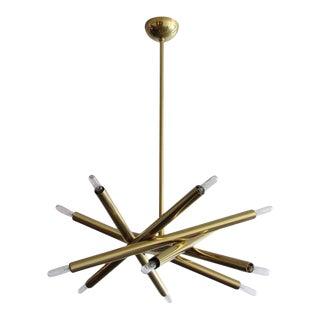 6-Arm Raw Brass Spiral Chandelier
