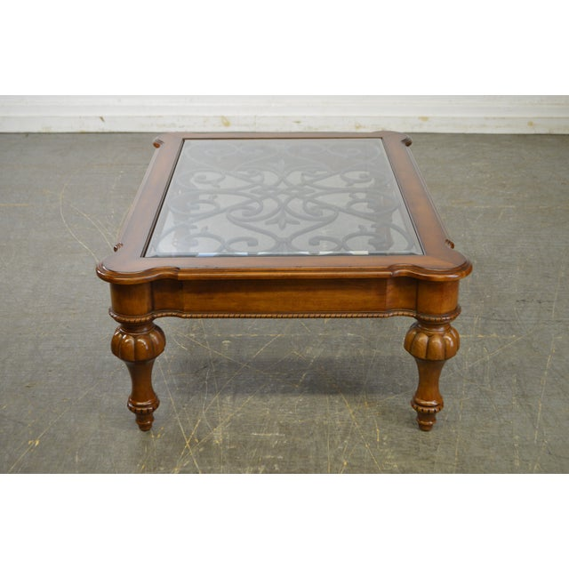 Ethan Allen French Country Style Glass & Scrolled Iron Top Coffee Table - Image 3 of 10