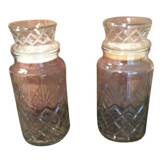 Vintage Glass Containers - A Pair