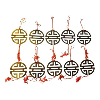 Vintage Brass Chinoiserie Ornaments - Set of 11