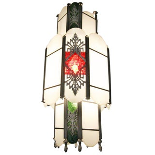 Intricate Art Deco Stained Glass Chandelier