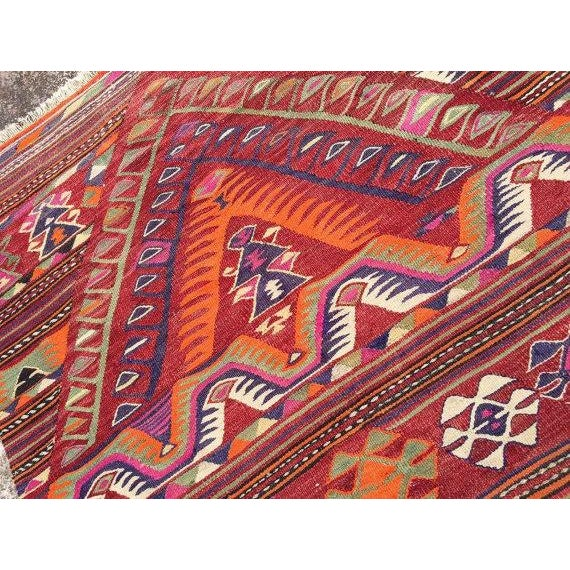 "Vintage Turkish Kilim Rug - 4'4"" X 6'8"" - Image 5 of 6"
