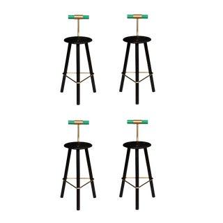 Customizable Set of 4 Erickson Aesthetics Charred Ash Tripod Stools with Backrest