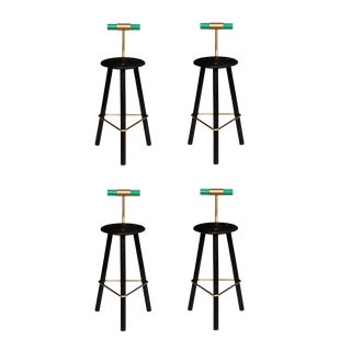 Set of 4 Erickson Aesthetics Charred Ash Tripod Stools with Backrest