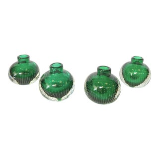 Emerald Green Candleholders / Bud Vases by Erickson Glass - Set of 4