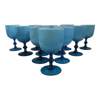 Set of 12 - Carlo Moretti Turquoise Murano Opaline Milk Glass Wine Glasses