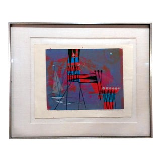 "Howard Bradford 1953 ""Tower & Regatta"" Serigraph"