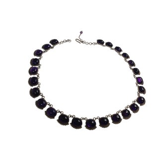 Sterling Silver  25 Amethyst Stone Necklace