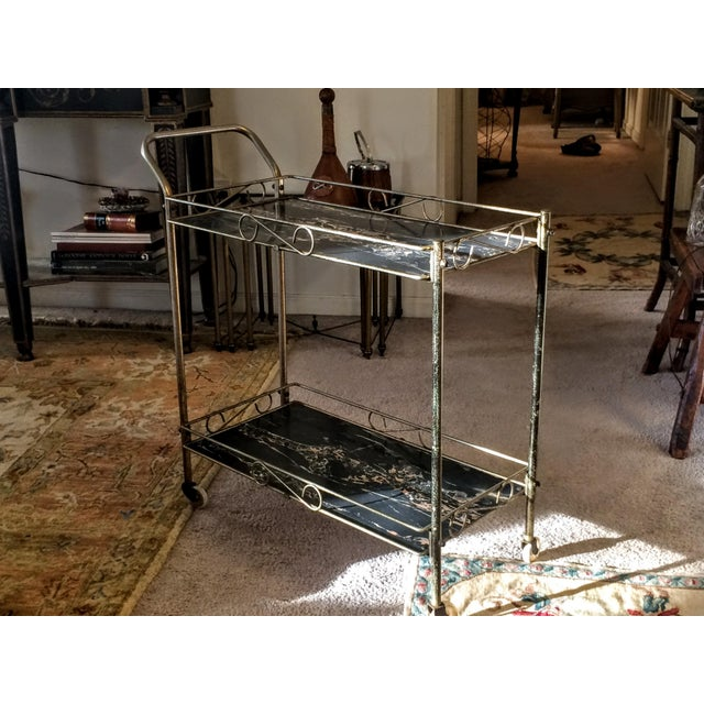 Mid-Century Modern Brass & Marble Rolling Bar Cart - Image 3 of 11