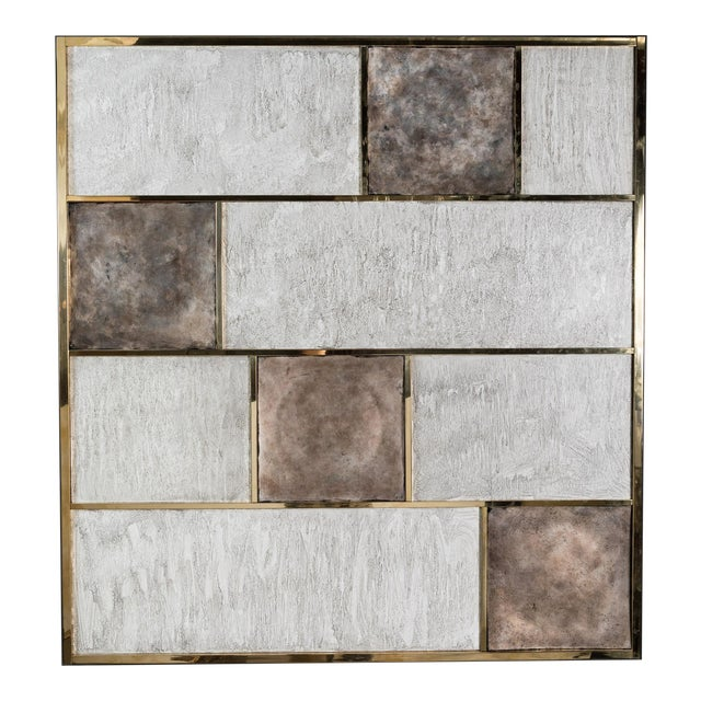 Art Wall Panel With Brass, Distressed Silver Leaf and Textured Finish by Paul Marra - Image 1 of 8