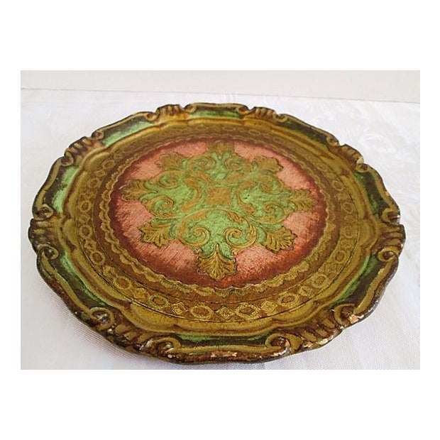Italian Rose & Green Wood Letter Tray - Image 3 of 6