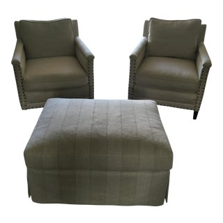 Serena & Lily Spruce Chairs & Ottoman - Set of 3