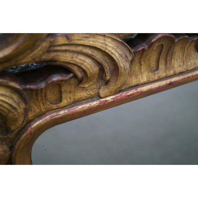 French Louis XV Gold Gilt Carved Wood Frame Mirror - Image 8 of 10