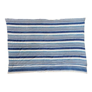 "Indigo Blue Striped Throw - 3'6"" x 5'1"""