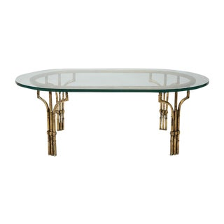 Hollywood Regency Iron Faux Bamboo & Glass Coffee Table