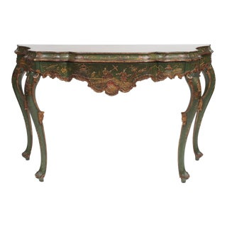 Chinoiserie Decorated Console Table with a Drawer
