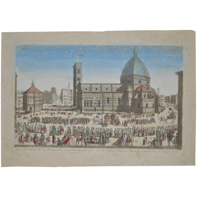 Antique Hand Colored Engraving of Florence, Italy - Image 1 of 8