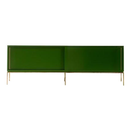 Image of Re: 379 Grass Green Lacquered Credenza on Brass base