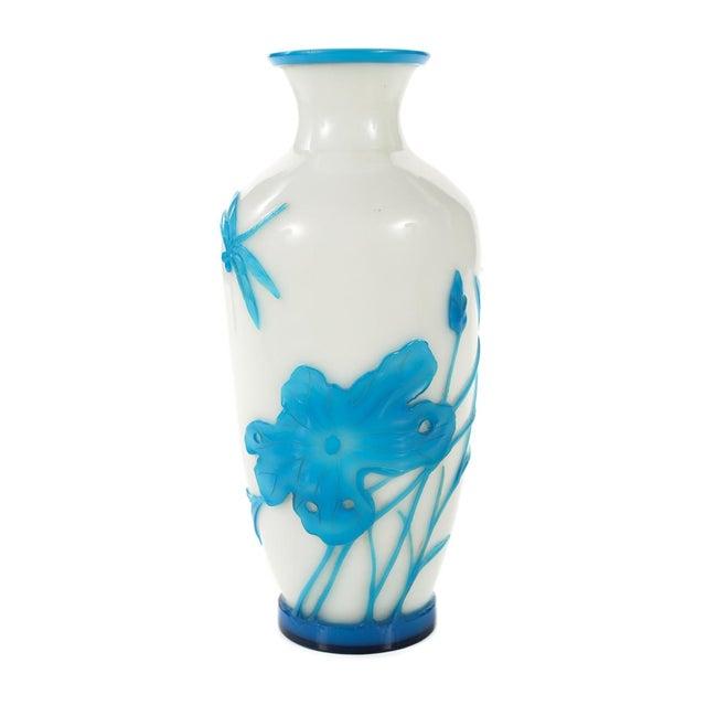 Chinese Peking Glass Blue & White Vases - Pair - Image 4 of 9