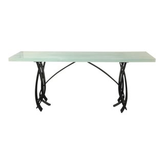 New Hand Wrought Iron & Glass Console Table