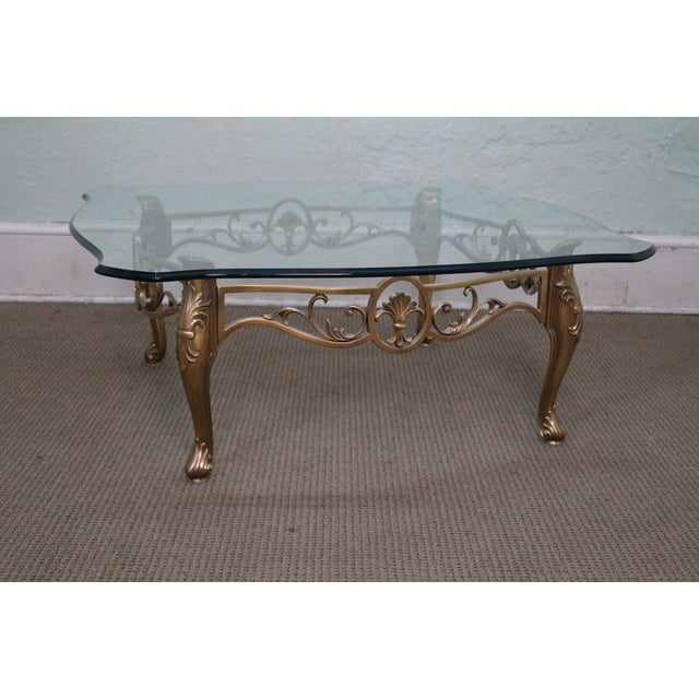 Vintage brass glass french louis xv coffee table chairish for French glass coffee table