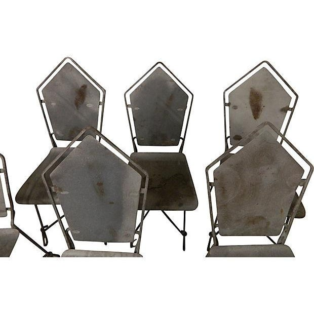 French Art Deco Iron Garden Chairs - Set of 6 - Image 5 of 6