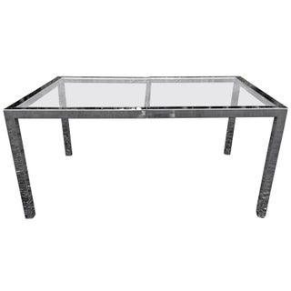 Milo Baughman Chrome& Glass Dining Table