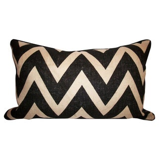 Burlap Chevron Pillow With Kravet Suede