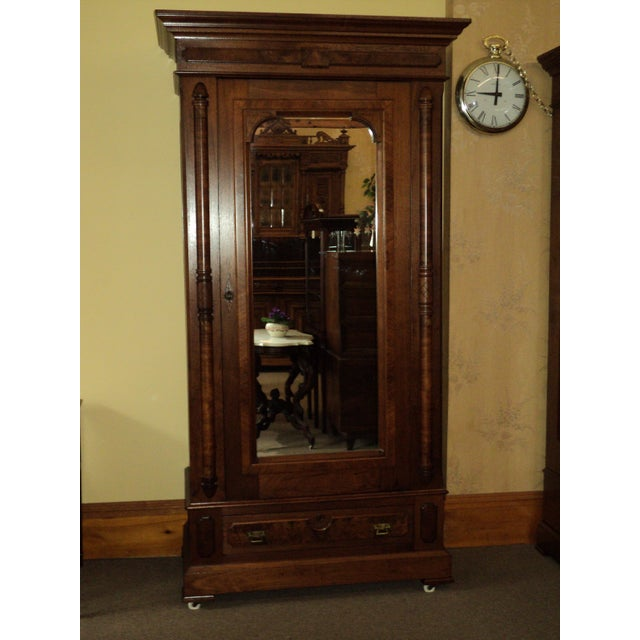 Antique Walnut Eastlake Victorian Armoire - Image 2 of 8