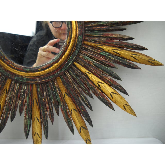 French Carved Wood Starburst Mirror - Image 6 of 8