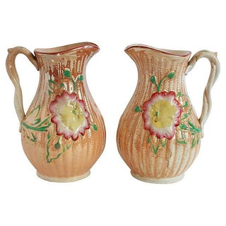 Antique Majolica Pitchers - Pair
