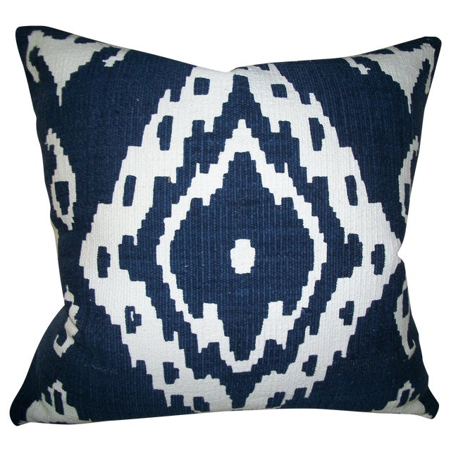 Shirvan True Blue Ikat Pillow Chairish
