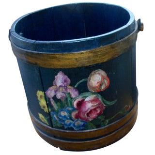 Antique Primitive Painted Wood Firkin Bucket