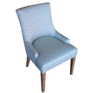 Blue Fretwork Upholstered Dining Chair