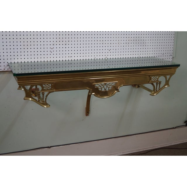 Vintage Brass & Glass Wall Shelf - Image 7 of 10