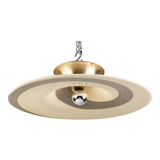 Mazzega Murano Glass Cream and Black Ceiling Fixture